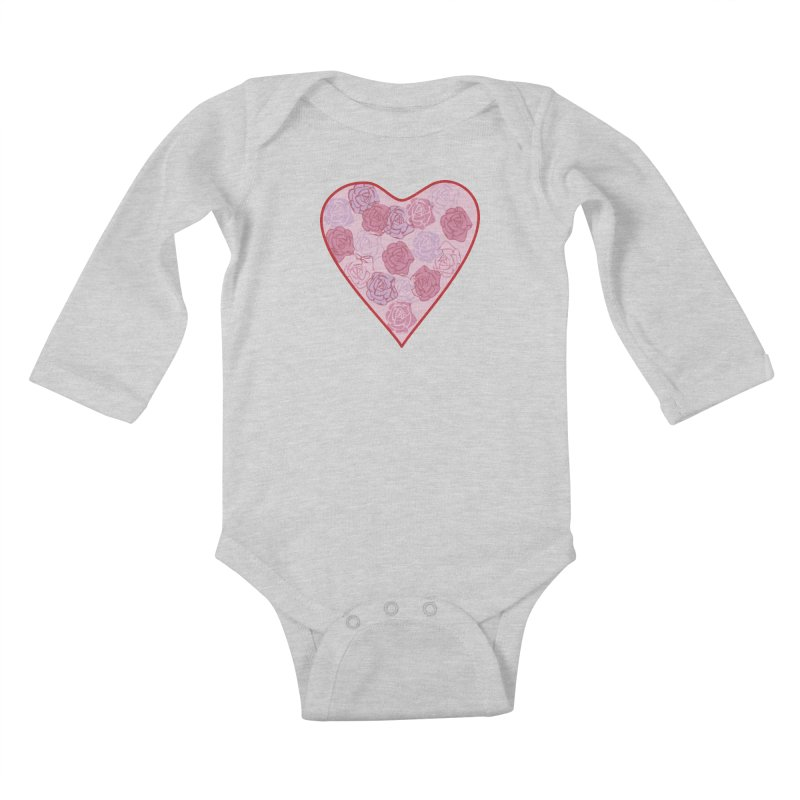 Heart filled with flowers Kids Baby Longsleeve Bodysuit by snapdragon64's Shop