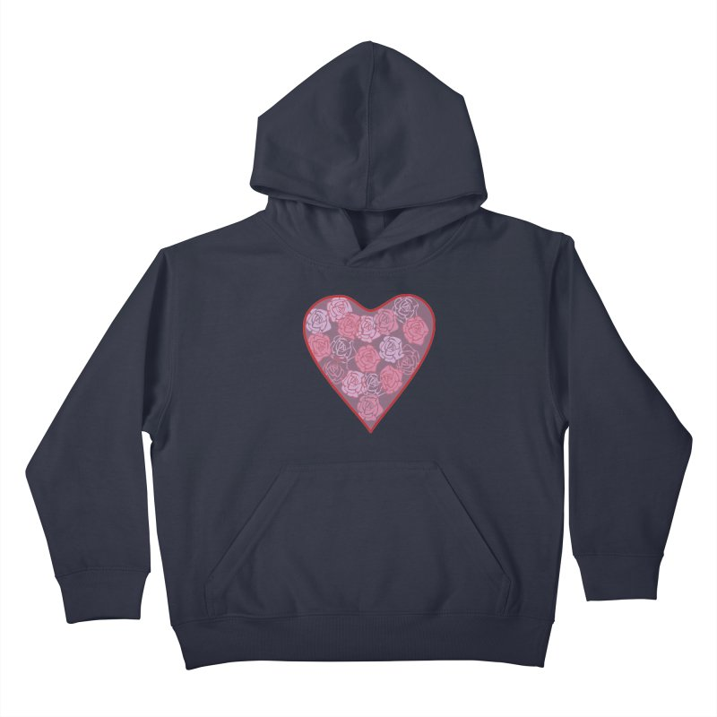 Heart filled with flowers Kids Pullover Hoody by snapdragon64's Shop