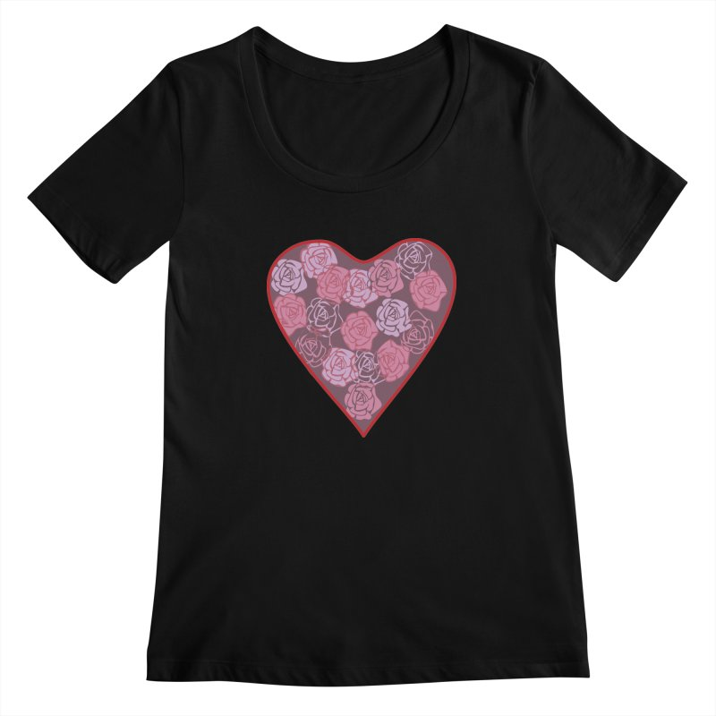 Heart filled with flowers Women's Scoopneck by snapdragon64's Shop