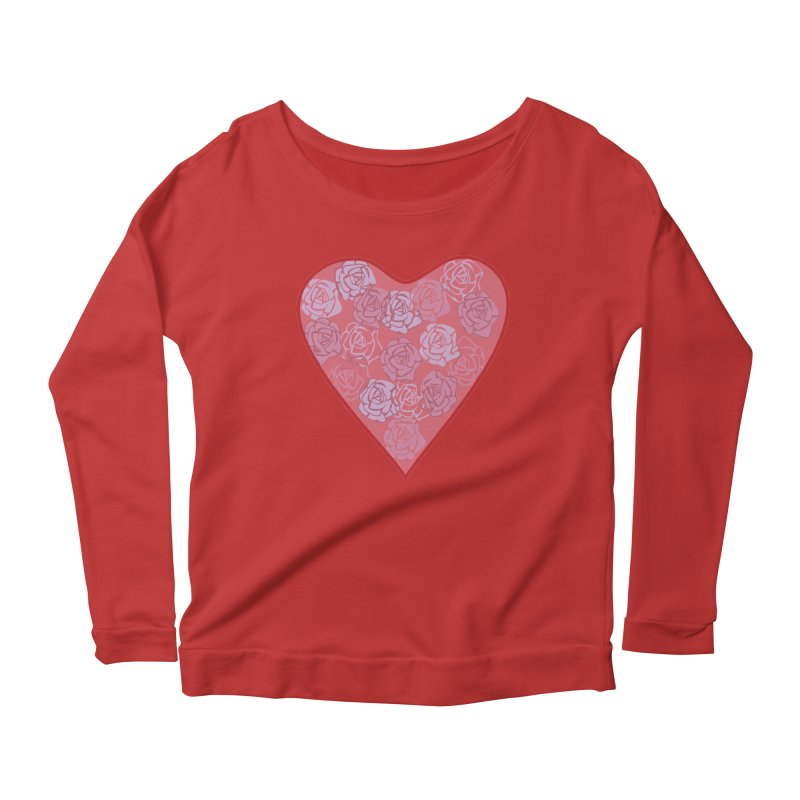 Heart filled with flowers Women's Longsleeve Scoopneck  by snapdragon64's Shop