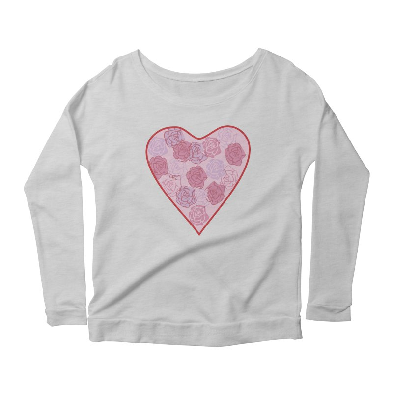 Heart filled with flowers Women's Scoop Neck Longsleeve T-Shirt by snapdragon64's Shop