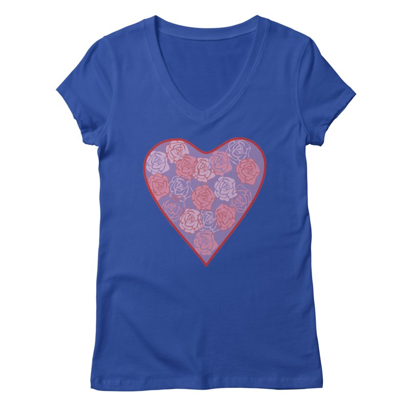 Heart filled with flowers Women's Regular V-Neck by snapdragon64's Shop