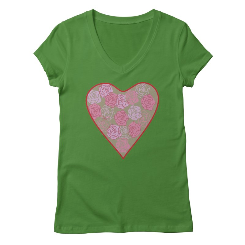 Heart filled with flowers Women's V-Neck by snapdragon64's Shop