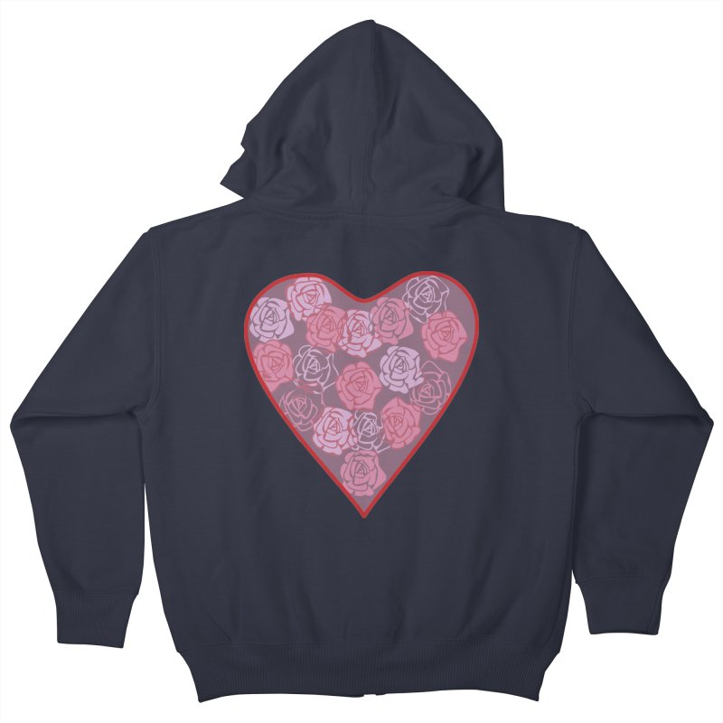 Heart filled with flowers Kids Zip-Up Hoody by snapdragon64's Shop