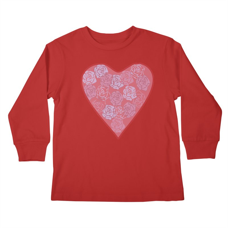 Heart filled with flowers Kids Longsleeve T-Shirt by snapdragon64's Shop