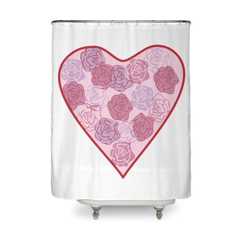 Heart filled with flowers Home Shower Curtain by snapdragon64's Shop