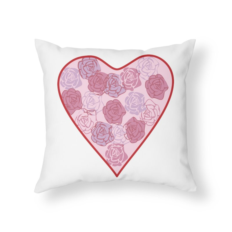 Heart filled with flowers Home Throw Pillow by snapdragon64's Shop