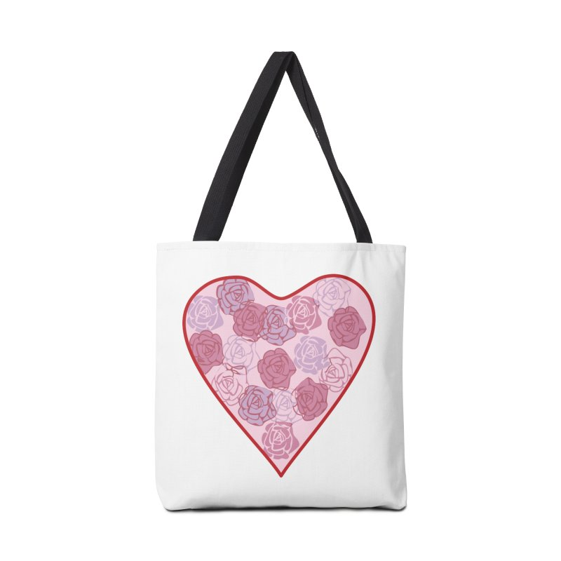 Heart filled with flowers Accessories Bag by snapdragon64's Shop