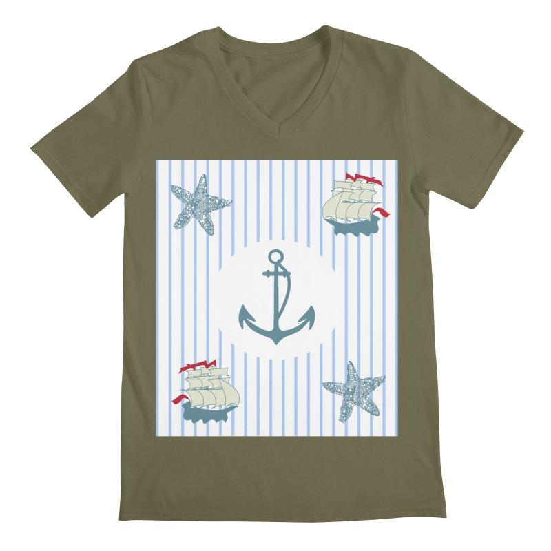 Nautical Men's Regular V-Neck by snapdragon64's Shop