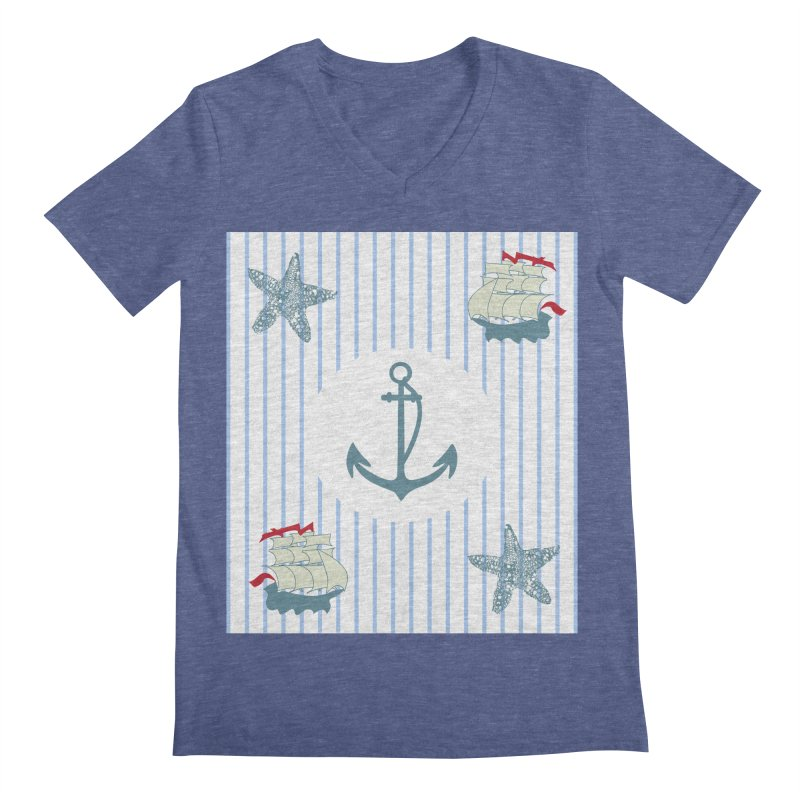 Nautical Men's Regular V-Neck by snapdragon64's Shop