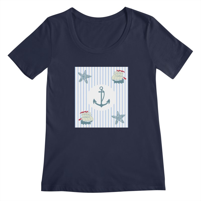 Nautical Women's Regular Scoop Neck by snapdragon64's Shop