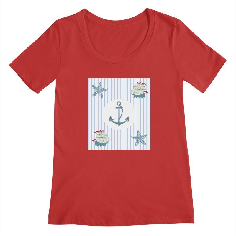 Nautical Women's Regular Scoop Neck by snapdragon64's Shop