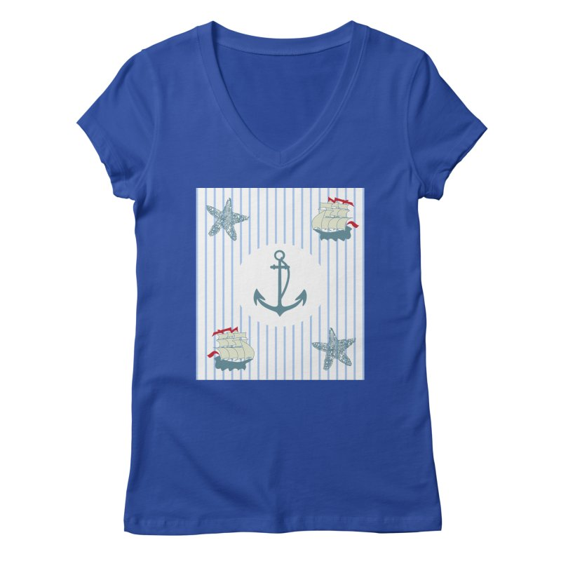 Nautical Women's V-Neck by snapdragon64's Shop