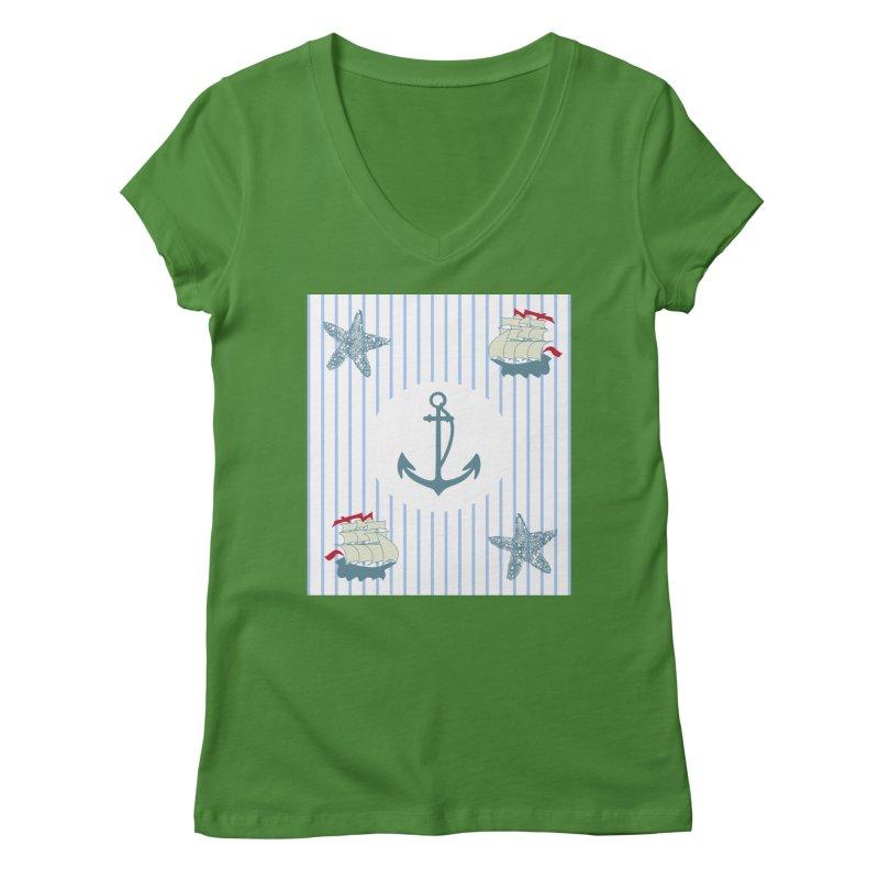 Nautical Women's Regular V-Neck by snapdragon64's Shop