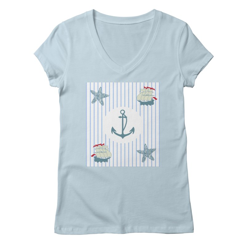 Nautical Women's Regular V-Neck by snapdragon64's Shop