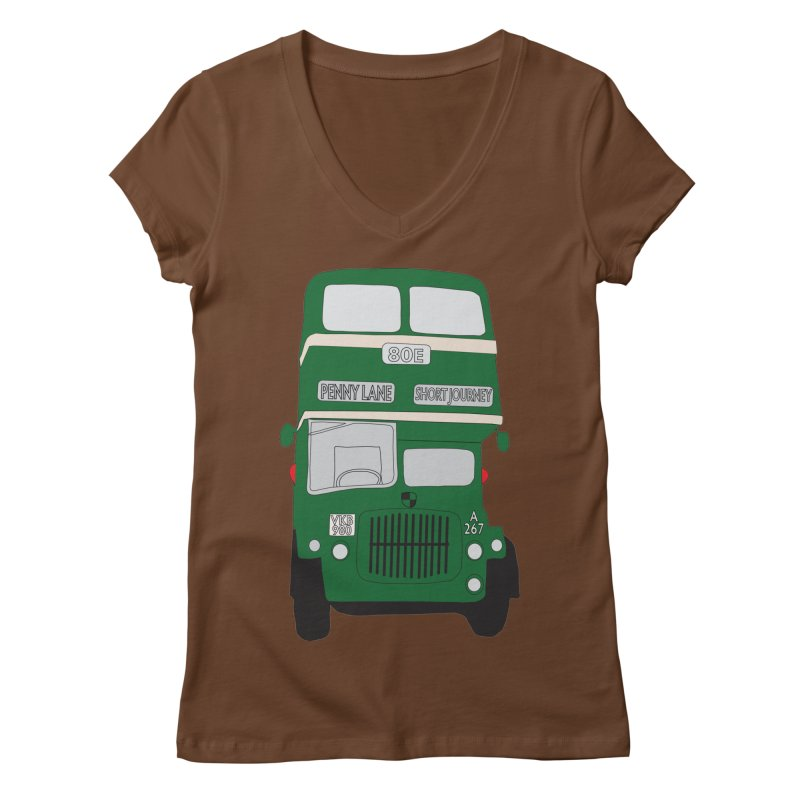 Penny Lane Liverpool bus Women's V-Neck by snapdragon64's Shop