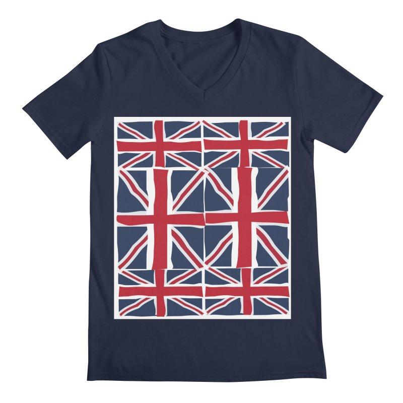 Union Jack pattern Men's Regular V-Neck by snapdragon64's Shop