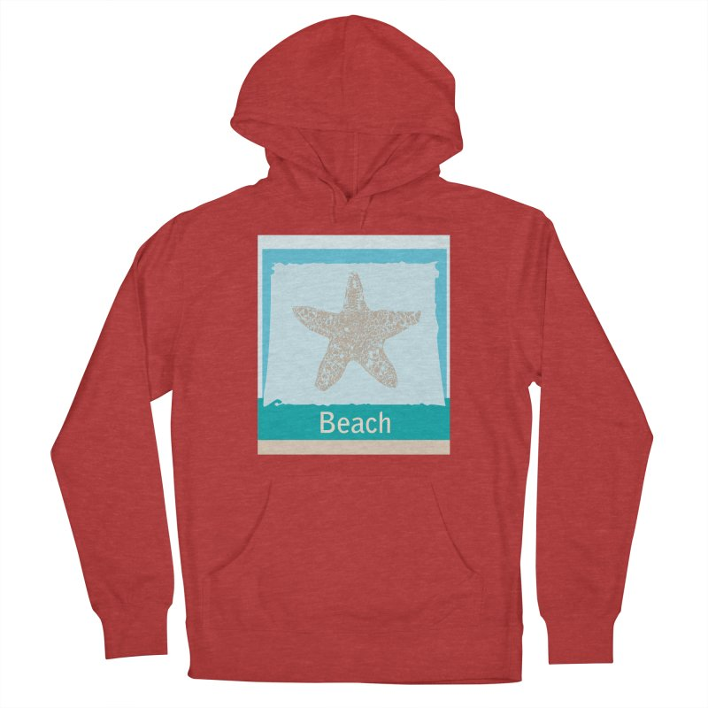 Beach Men's French Terry Pullover Hoody by snapdragon64's Shop