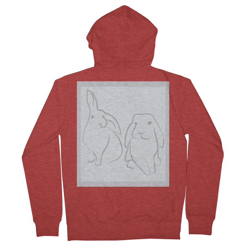 Pixie and Stan, a drawing of rabbits. Women's French Terry Zip-Up Hoody by snapdragon64's Shop