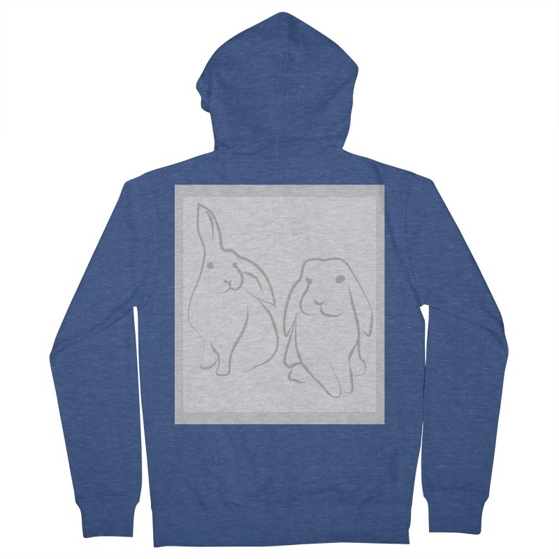 Pixie and Stan, a drawing of rabbits. Men's French Terry Zip-Up Hoody by snapdragon64's Shop