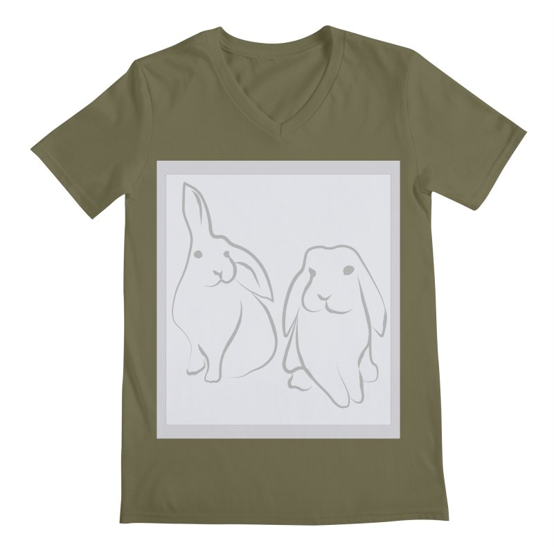 Pixie and Stan, a drawing of rabbits. Men's V-Neck by snapdragon64's Shop