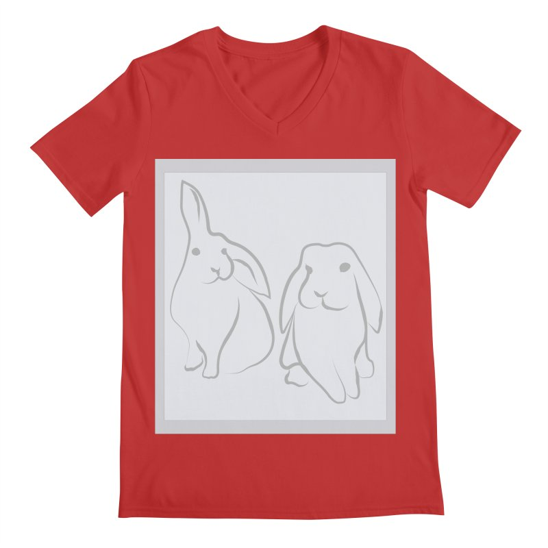 Pixie and Stan, a drawing of rabbits. Men's Regular V-Neck by snapdragon64's Shop