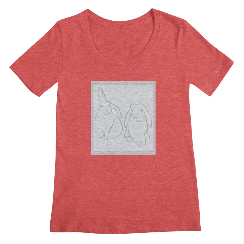 Pixie and Stan, a drawing of rabbits. Women's Regular Scoop Neck by snapdragon64's Shop
