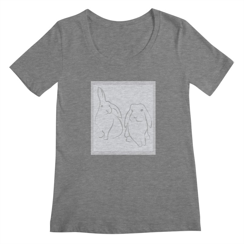 Pixie and Stan, a drawing of rabbits. Women's Scoopneck by snapdragon64's Shop