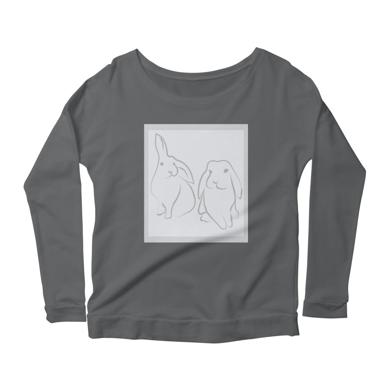 Pixie and Stan, a drawing of rabbits. Women's Scoop Neck Longsleeve T-Shirt by snapdragon64's Shop