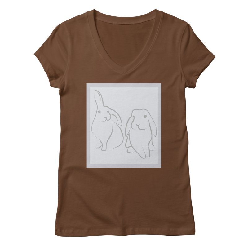 Pixie and Stan, a drawing of rabbits. Women's V-Neck by snapdragon64's Shop