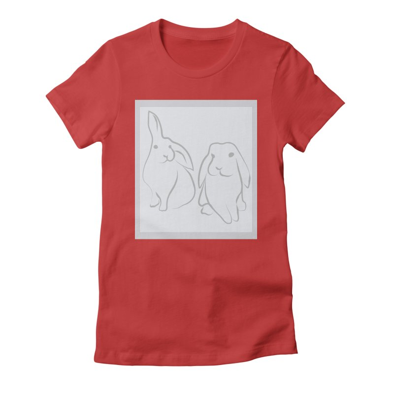 Pixie and Stan, a drawing of rabbits. Women's Fitted T-Shirt by snapdragon64's Shop