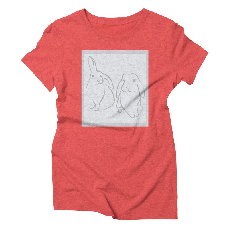 Pixie and Stan, a drawing of rabbits. Women's Triblend T-shirt by snapdragon64's Shop