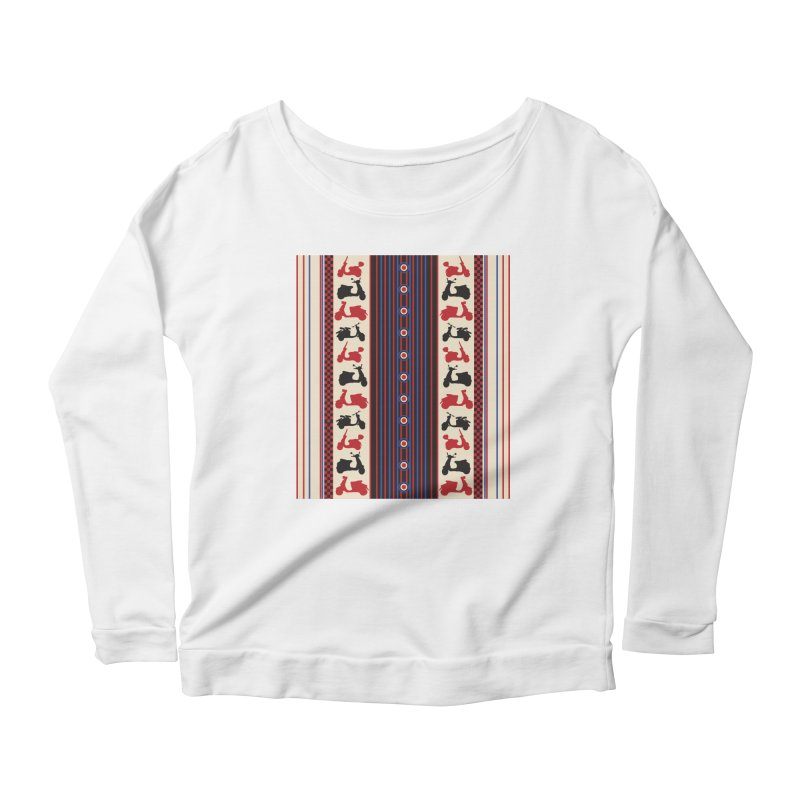 Mod scooters Women's Scoop Neck Longsleeve T-Shirt by snapdragon64's Shop