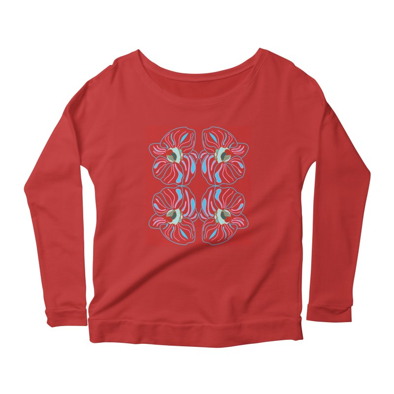 Bright orchid mirrored Women's Longsleeve Scoopneck  by snapdragon64's Shop