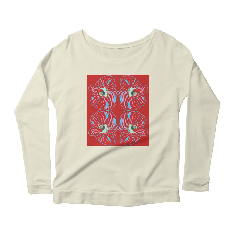 Bright orchid mirrored Women's Scoop Neck Longsleeve T-Shirt by snapdragon64's Shop