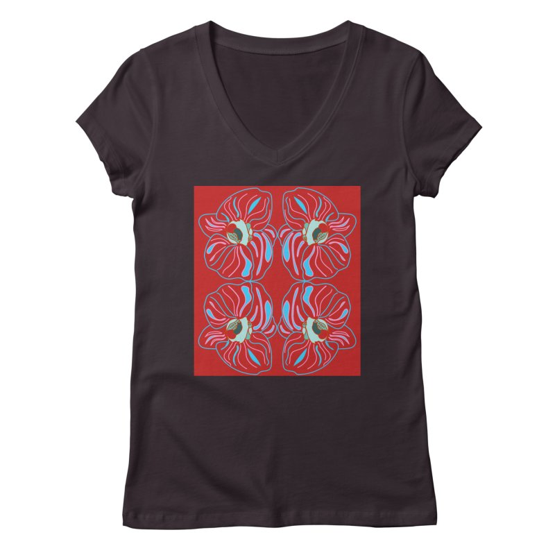 Bright orchid mirrored Women's Regular V-Neck by snapdragon64's Shop