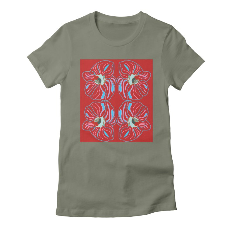 Bright orchid mirrored Women's Fitted T-Shirt by snapdragon64's Shop