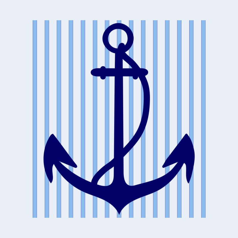 Nautical stripes and anchor None  by snapdragon64's Shop