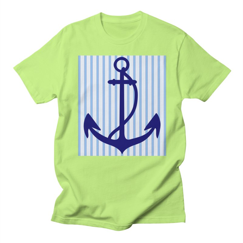 Nautical stripes and anchor Men's Regular T-Shirt by snapdragon64's Shop