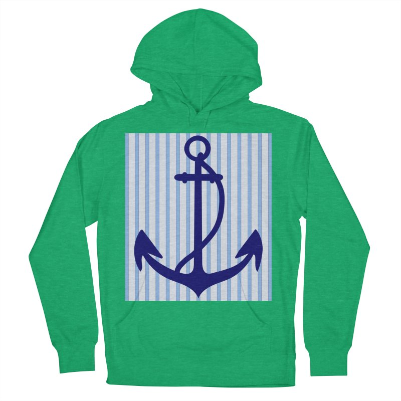 Nautical stripes and anchor Women's Pullover Hoody by snapdragon64's Shop