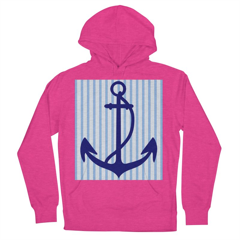 Nautical stripes and anchor Women's French Terry Pullover Hoody by snapdragon64's Shop