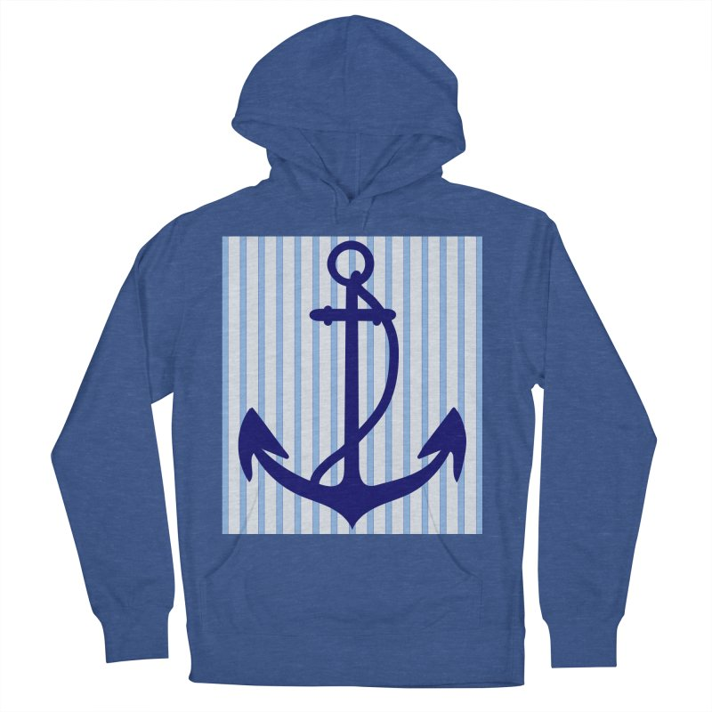 Nautical stripes and anchor Men's French Terry Pullover Hoody by snapdragon64's Shop