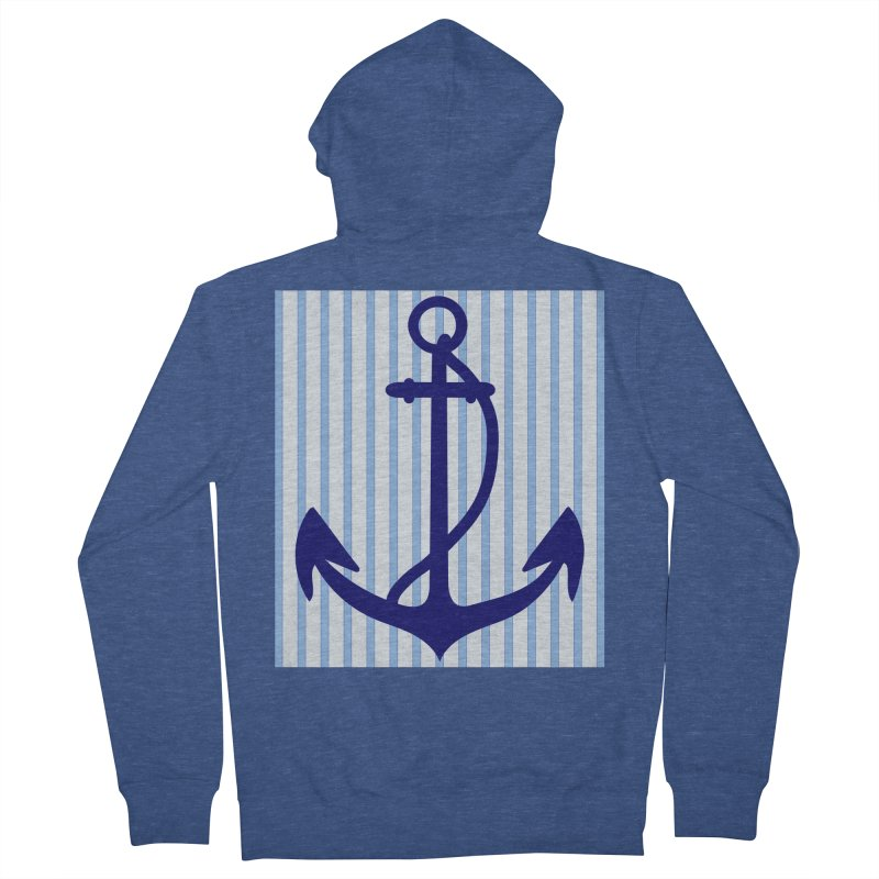 Nautical stripes and anchor Women's French Terry Zip-Up Hoody by snapdragon64's Shop