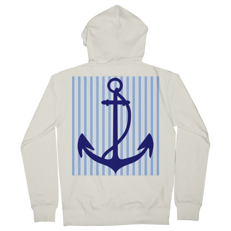 Nautical stripes and anchor Women's Zip-Up Hoody by snapdragon64's Shop