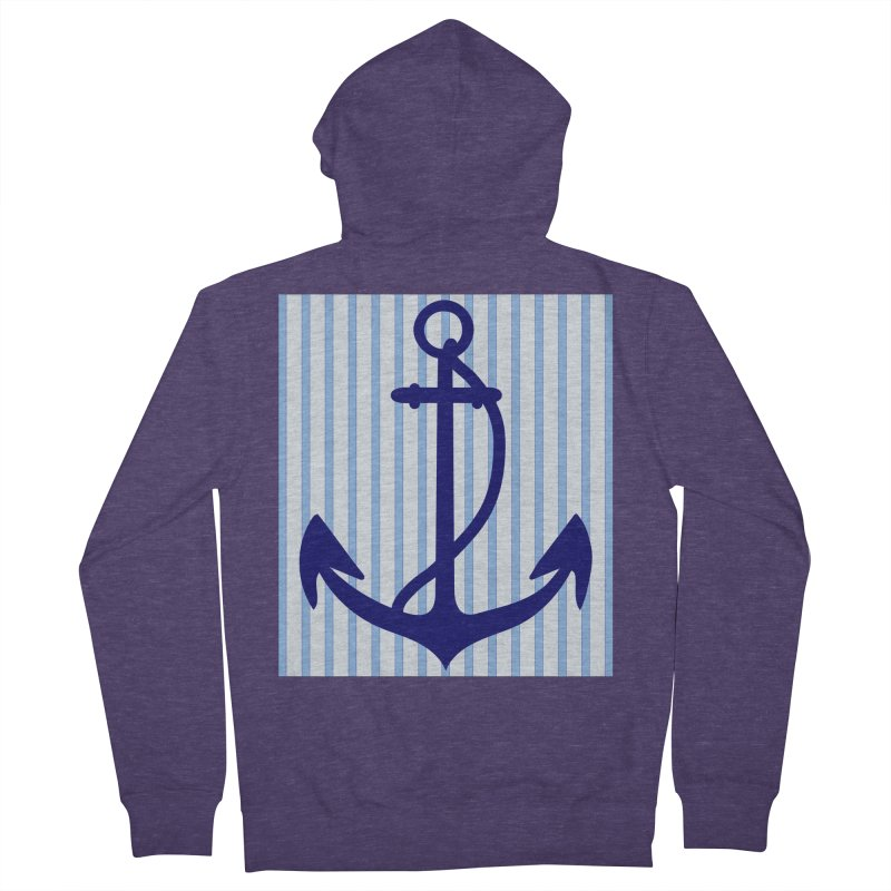 Nautical stripes and anchor Men's French Terry Zip-Up Hoody by snapdragon64's Shop