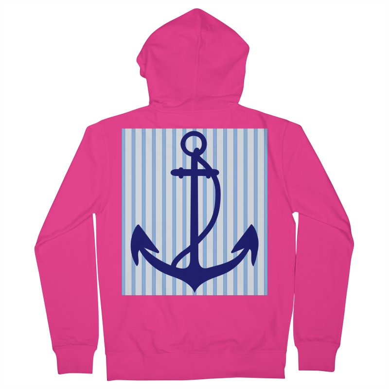 Nautical stripes and anchor Men's Zip-Up Hoody by snapdragon64's Shop
