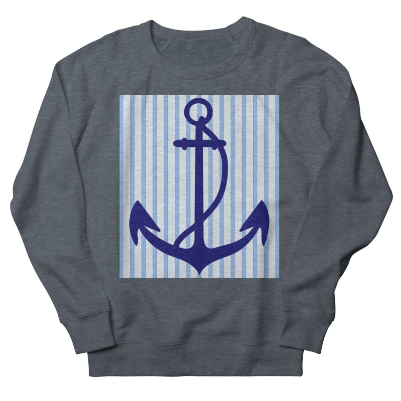Nautical stripes and anchor Women's French Terry Sweatshirt by snapdragon64's Shop