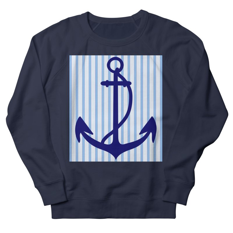 Nautical stripes and anchor Men's French Terry Sweatshirt by snapdragon64's Shop