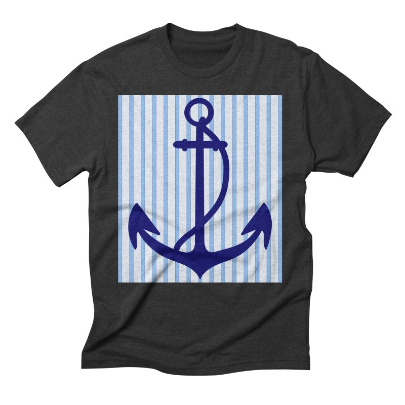 Nautical stripes and anchor Men's Triblend T-Shirt by snapdragon64's Shop