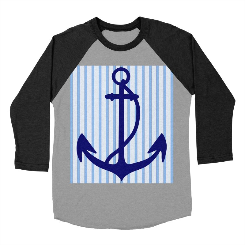 Nautical stripes and anchor Women's Baseball Triblend Longsleeve T-Shirt by snapdragon64's Shop